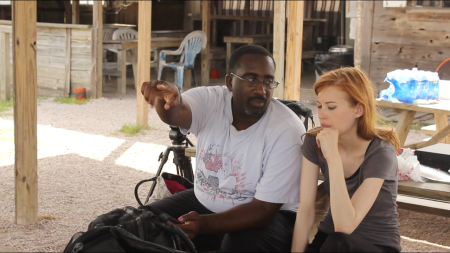Director Michael S Moore and Lindsey Lemke going over the next scene.