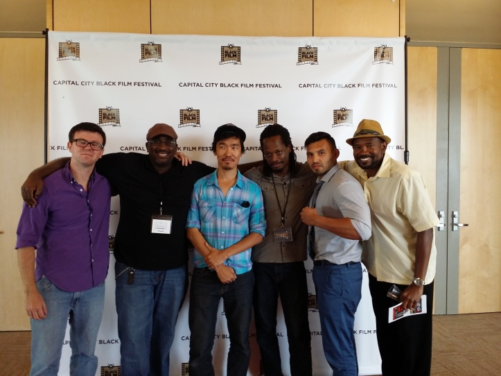 Left to Right: James Thistleton (composer), Michael S Moore, Joe H Lee (DP), Donald Brooks (Adam Matrix) Bobby Hernandez (Richter) and Kerry Ramsay (Deveroux)